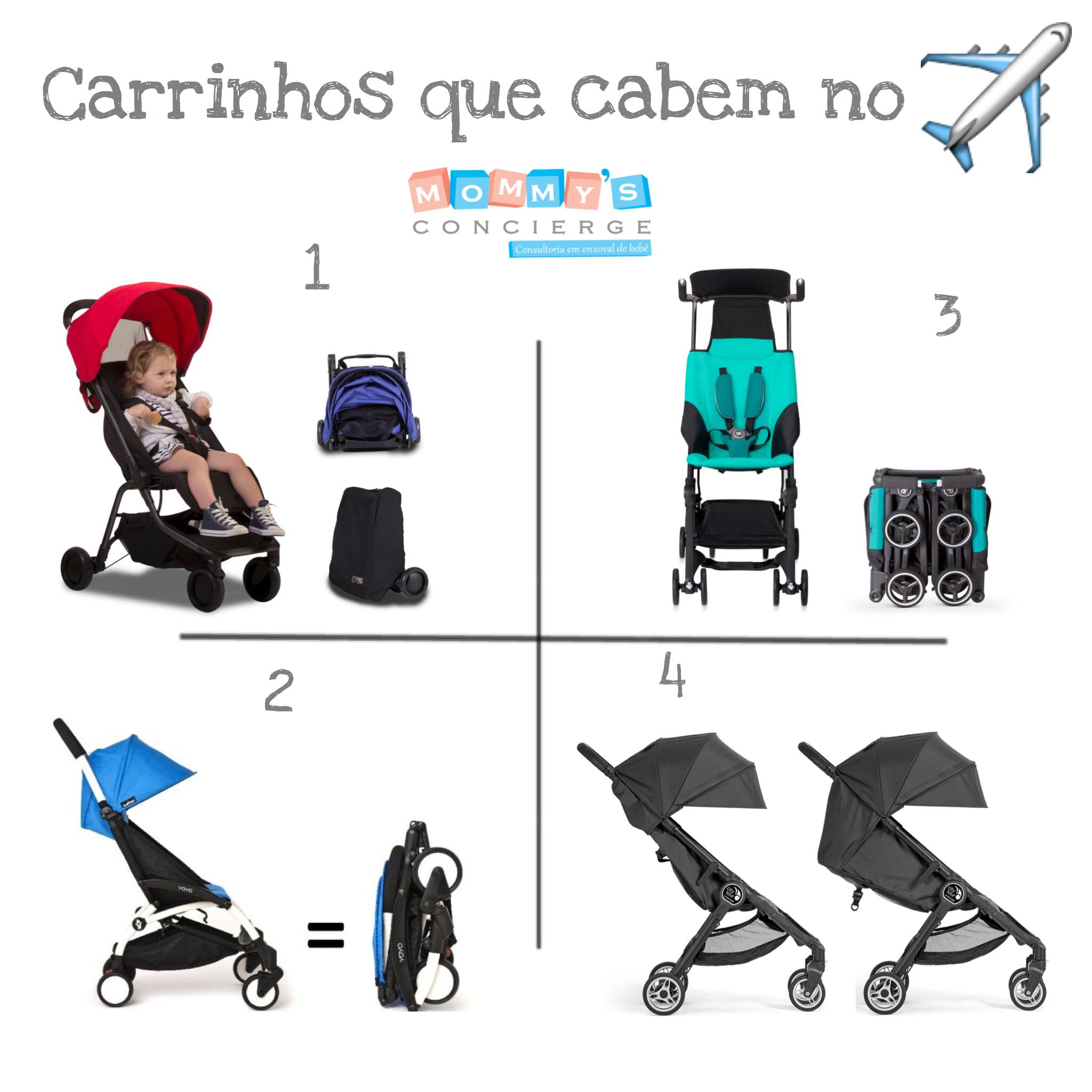 Carrinhos de bebê compactos que entram dentro do avião