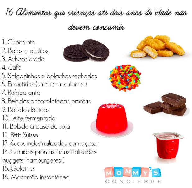16 Alimentos que crianças até dois anos de idade não devem ingerir