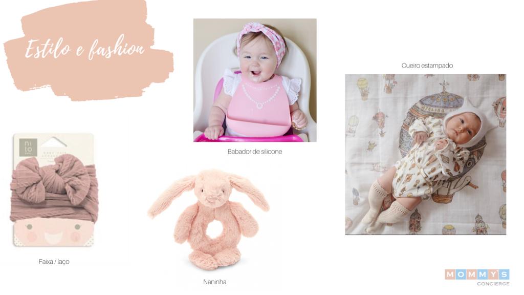 Presentes estilosos e fashion para chá de bebê