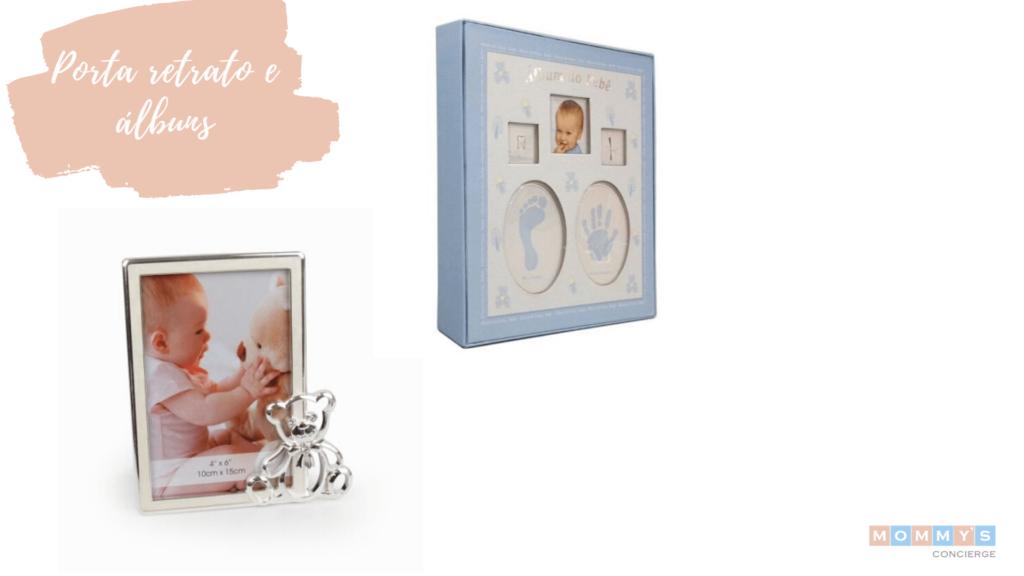 Porta retratos e albums para presentes de chá de bebê